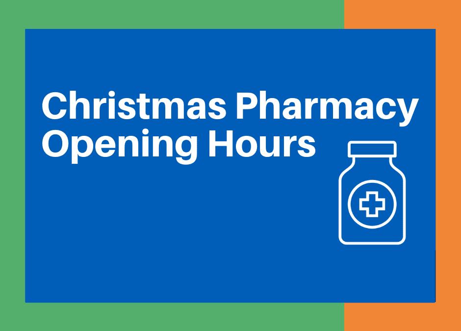 Christimas Pharmacy Opening Hours - Pill bottle illustration